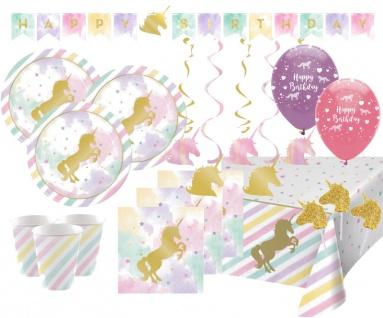 XXL 57 Teile goldenes Einhorn in Pastell Farben Party Deko Set für 8 Personen
