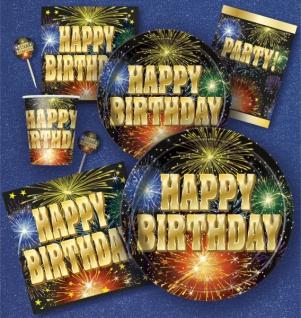 8 kleine Teller Happy Birthday Feuerwerk - Vorschau 3