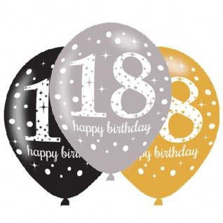 6 Luftballons Gold und Silber 18. Geburtstag