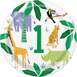 8 Papp Teller Safari und Dschungel Party zum 1. Geburtstag