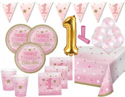 XL 42 Teile Erster Geburtstag Blinke Kleiner Stern Rosa Party Deko Set 8 Personen