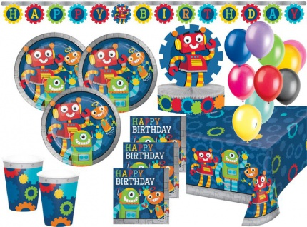 XL 45 Teile Roboter Party Deko Set 8 Personen
