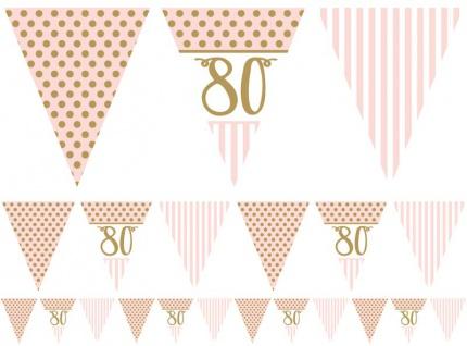 80. Geburtstag Pink Chic Wimpel Girlande 3, 7m