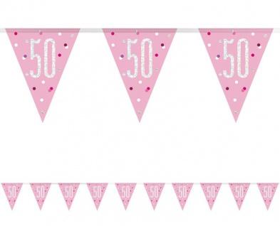 Wimpel Girlande Pink Dots Glitzer zum 50. Geburtstag