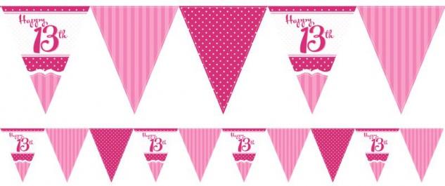 Papier Wimpel Girlande Perfectly Pink zum 13. Geburtstag