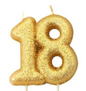 Kuchen Kerze 18. Geburtstag Gold Glitzer