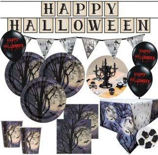 XXL Halloween Party Deko Set Atemlose Nacht Grusel Gruft für 8 Personen
