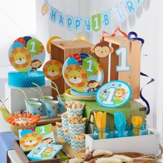 16 kleine Servietten 1. Geburtstag im Zoo Blau - Vorschau 3