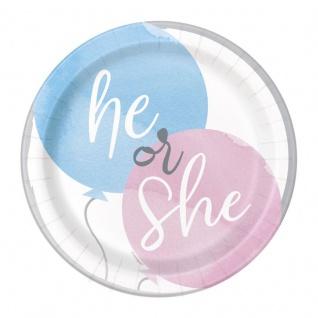 8 kleine Papp Teller Gender Reveal Babyparty Junge oder Mädchen?