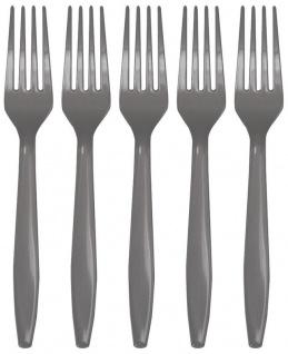 24 Teile Premium Plastik Gabeln in Grau