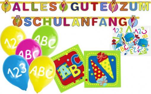 20 Servietten + Girlande + 5 Luftballons + Konfetti zum Schulanfang