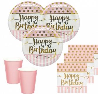36 Teile Pink Chic Happy Birthday Party Deko Set in Rosa und Gold zum Geburtstag für 8 Personen