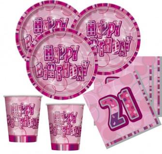 48 Teile zum 21. Geburtstag Party Set in Pink für 16 Personen