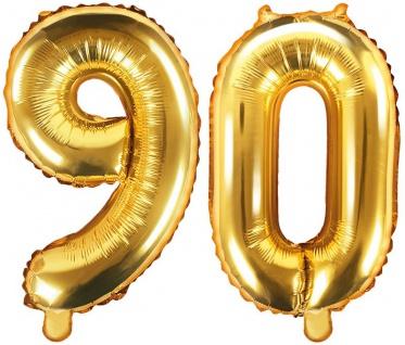 Folienballons Zahl 90 Gold Metallic 35 cm