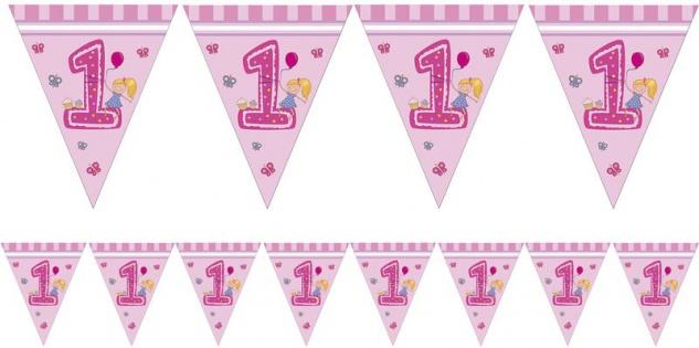 Wimpel Girlande 1. Geburtstag Mädchen