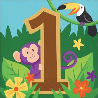 16 Servietten zum 1. Geburtstag fröhliche Dschungel Party