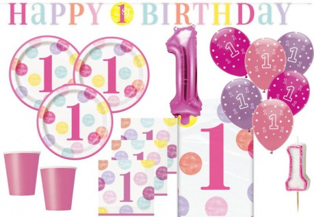 XL 42 Teile Erster Geburtstag Rosa Punkte Party Deko Set 8 Personen