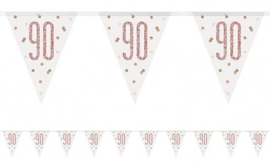 Wimpel Girlande Urban Apricot Glitzer zum 90. Geburtstag