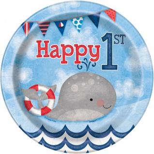 8 kleine Teller 1. Geburtstag Maritim am Meer