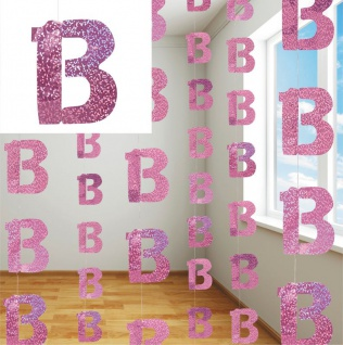 13. Geburtstag Glitzer Girlanden Pink