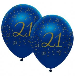 6 Luftballons blauer Achat zum 21. Geburtstag in Gold bedruckt