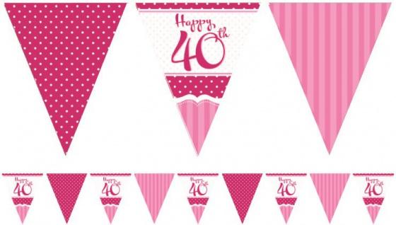 Papier Wimpel Girlande Perfectly Pink zum 40. Geburtstag