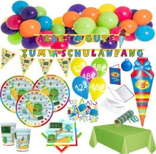 XXL 181 Teile Schulanfang 1. Schultag ABC Party Deko Set 20 Personen mit Ballongirlande