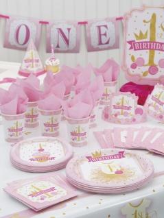 32 Teile Erster Geburtstag Rosa und Gold Party Deko Set 8 Personen - Vorschau 5
