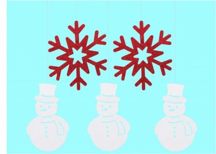 5 hängende Girlanden Schneemann und Schneeflocken