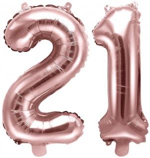 Folienballons Zahl 21 Rosegold Metallic 35 cm