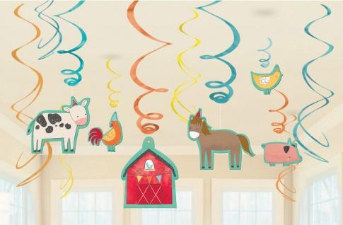 12 hängende Swirl Girlanden + 6 Pappschilder Tiere auf dem Bauernhof