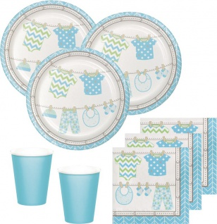48 Teile Baby Party Pastell Blau Babyshower Set für 16 Personen