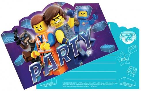 8 Einladungskarten Lego Movie 2 Abenteuer im Weltraum