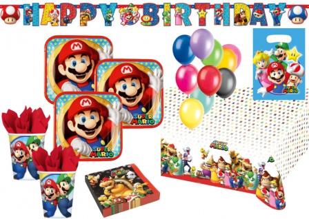 XXL 56 Teile Super Mario Party Deko Basis Set für 8 Kinder