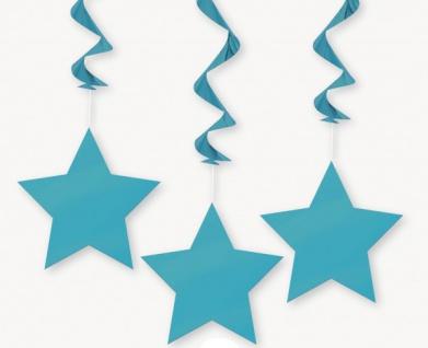 3 hängende Sterne Girlanden Karibik Blau