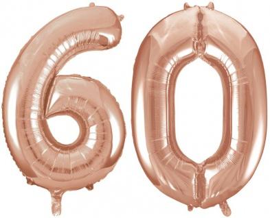 Folien Ballon Zahl 60 in Rosegold - XXL Riesenzahl 86 cm zum 60. Geburtstag