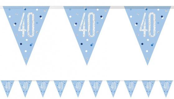 Wimpel Girlande Blue Dots Glitzer zum 40. Geburtstag