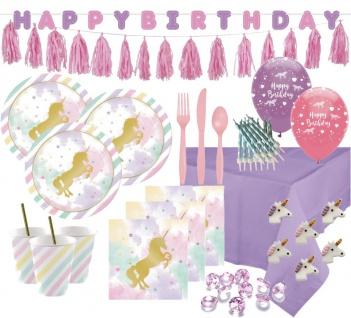 XXL 93 Teile goldenes Einhorn in Pastell Farben Deluxe Party Deko Set für 8 Personen