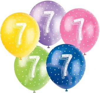 5 Geburtstags Luftballons mit der Zahl 7