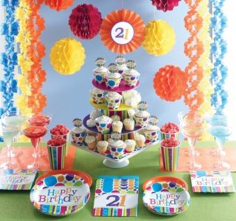8 kleine Geburtstags Papp Teller bunte Punkte und Streifen - Vorschau 3