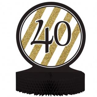 Tischaufsteller 40. Geburtstag Black and Gold