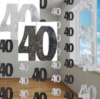 40. Geburtstag Glitzer Girlanden Schwarz + Silber