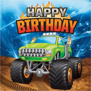 16 Geburtstags Servietten Monster Truck Rallye