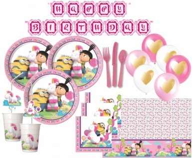 XXL 68 Teile Minions Agnes + Fluffy Einhorn Party Deko Set für 6 Kinder