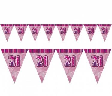 21. Geburtstag Wimpel Girlande Pink