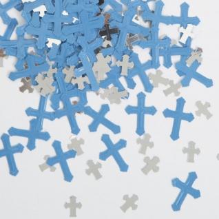 Deko Konfetti Kreuze in Blau und Silber