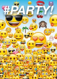 8 Einladungskarten Emoji Party