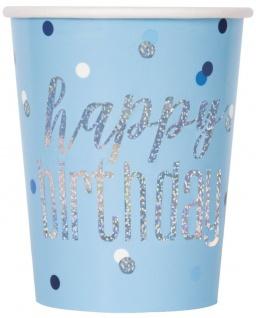 8 Papp Becher Blue Dots Glitzer Happy Birthday
