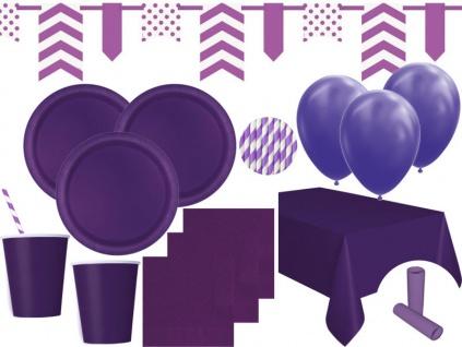 XL 85 Teile Party Deko Set Violett für 16 Personen