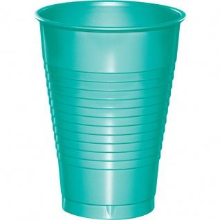 20 Plastik Becher Lagunen Blau 350 ml